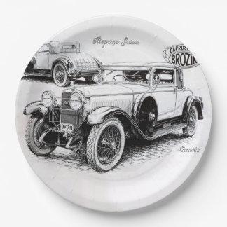 Vintage car illustration paper plate