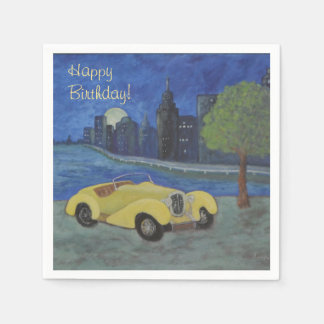 Vintage Car In the City Disposable Napkin
