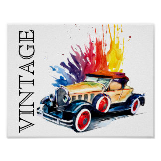 Vintage Car In Watercolor Poster
