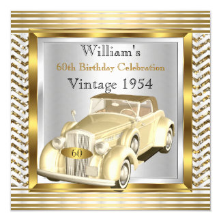 """Vintage Car Mans 60th Birthday Party Gold Silver 2 5.25"""" Square Invitation Card"""
