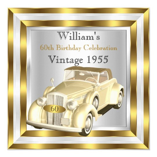 Vintage Car Men's 60th Birthday Party Gold White Card