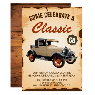 Vintage Car Milestone Birthday Party Invitation