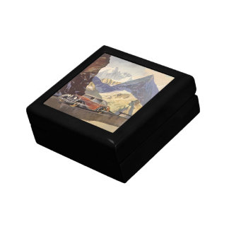 Vintage Car on Mountain Road with Snow in Winter Trinket Box