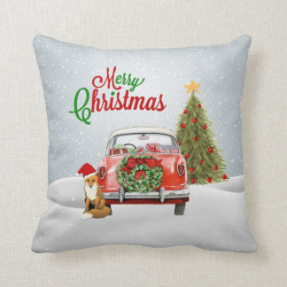 Vintage car parked by Christmas Tree and fox sitti Throw Pillow