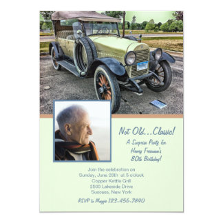 Vintage Car Photo Birthday Party Invitation
