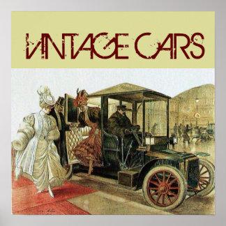 VINTAGE CAR WITH ELEGANT LADIES CLASSIC AUTO Cream Poster