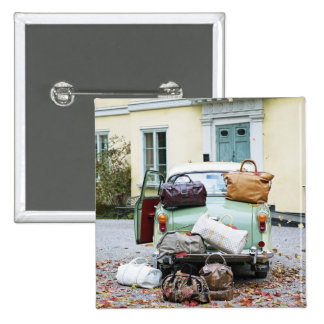 Vintage car with lots of luggage 2 inch square button
