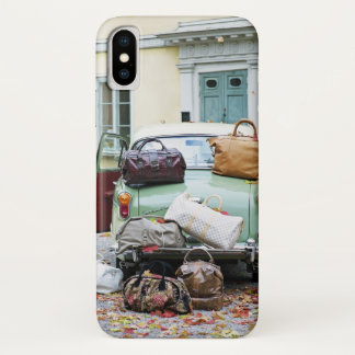 Vintage car with lots of luggage iPhone x case