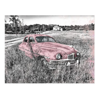 Vintage Car with Pink Accents Postcard