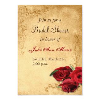 Vintage Caramel Brown & Rose Bridal Shower Card