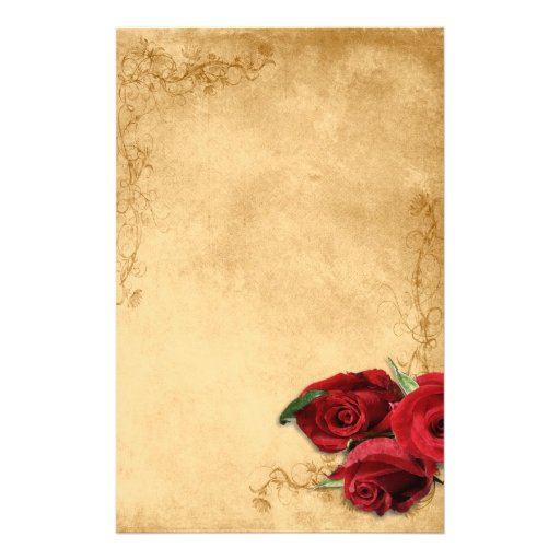 Vintage Caramel Brown & Rose Customized Stationery