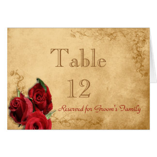 Vintage Caramel Brown & Rose Table Number