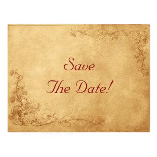 Vintage Caramel Brown Wedding Save The Date Postcard