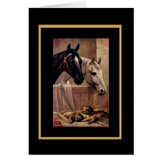 Vintage Card Horses Dogs