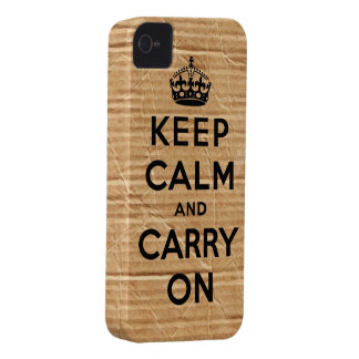Vintage cardboard keep calm and carry on Case-Mate iPhone 4 cases