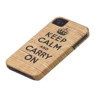 Vintage cardboard keep calm and carry on iPhone 4 cases