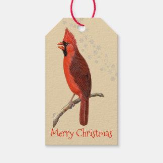 Vintage Cardinal Merry Christmas Gift Tags