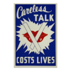Vintage Careless Talk Costs Lives Poster