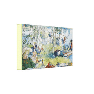 Vintage Carl Larsson Cray Fishing With The  Family Canvas Print
