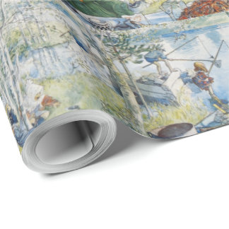 Vintage Carl Larsson Cray Fishing With The  Family Wrapping Paper