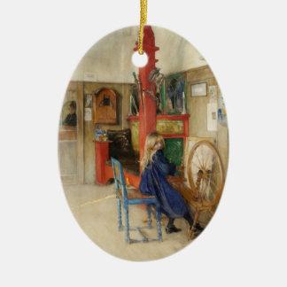 Vintage Carl Larsson Spinning Wheel Fine Art Ceramic Oval Ornament