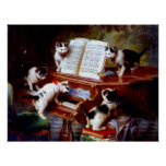 Vintage Carl Reichert Kittens Playing Piano Poster