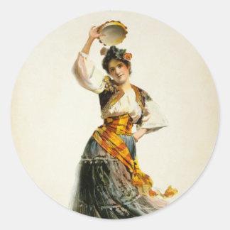 Vintage Carmen Round Sticker