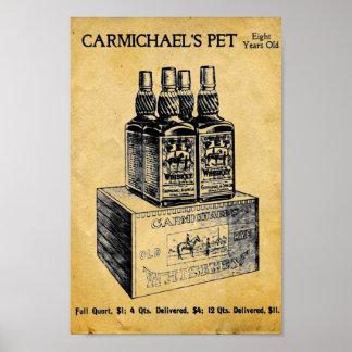 Vintage Carmichaels Pet Whiskey Print - Sign