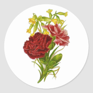 Vintage Carnations Classic Round Sticker