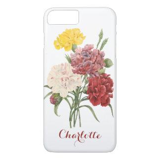 Vintage Carnations Dianthus Garden Flowers Redoute iPhone 7 Plus Case