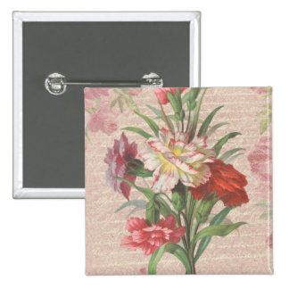 Vintage Carnations with Script Floral Background 2 Inch Square Button