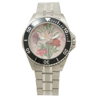 Vintage Carnations with Script Floral Background Wristwatch