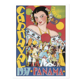 Vintage Carnival 1937 Panama Travel Poster Postcard