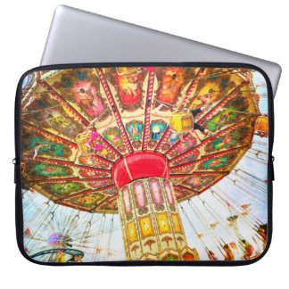 Vintage carnival swing ride photo laptop sleeve
