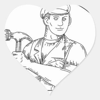 Vintage Carpenter Hammer Mono Line Heart Sticker