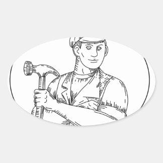 Vintage Carpenter Hammer Mono Line Oval Sticker