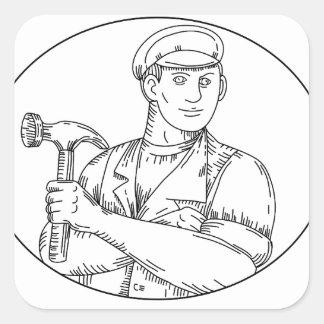 Vintage Carpenter Hammer Mono Line Square Sticker