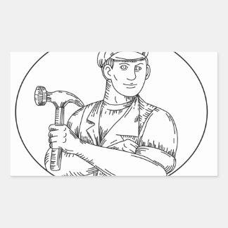 Vintage Carpenter Hammer Mono Line Sticker