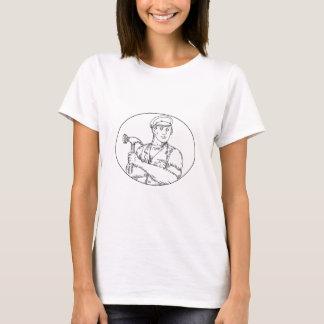 Vintage Carpenter Hammer Mono Line T-Shirt