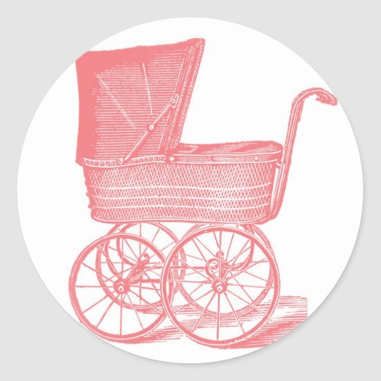 Vintage Carriage Baby Girl Shower Stickers