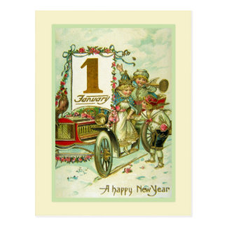 Vintage Carriage for New Year Postcard