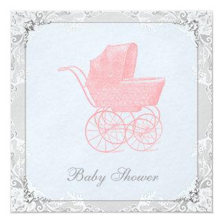 "Vintage Carriage Pram Gender Neutral Baby Shower 5.25"" Square Invitation Card"