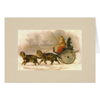 Vintage Carriage Ride for Kitties (Blank Inside), Card