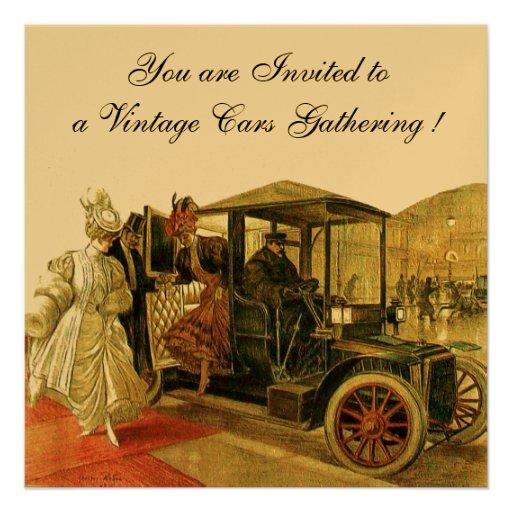 VINTAGE CARS, AUTO RESTORATION 2,Red Yellow Gold Custom Invitations