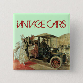 VINTAGE CARS CLASSIC AUTO RESTORATION AUTOMOTIVE 2 INCH SQUARE BUTTON
