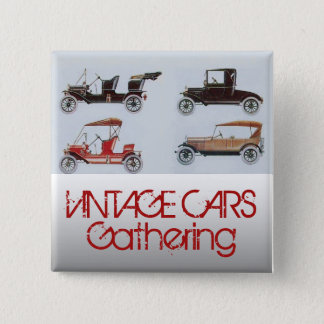 Vintage Cars Gathering Classic Auto 2 Inch Square Button