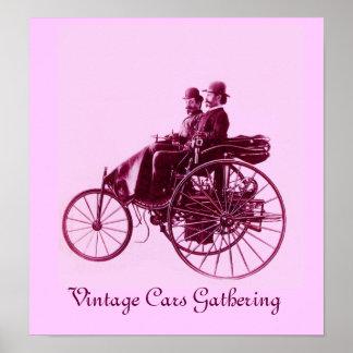 Vintage Cars Gathering ,pink violet purple Poster