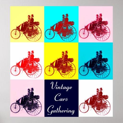 ViNTAGE CARS GATHERING POP ART Poster