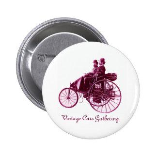 Vintage Cars Gathering , purple  pink violet white 2 Inch Round Button