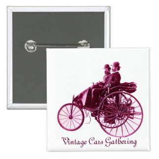 Vintage Cars Gathering , purple  pink violet white 2 Inch Square Button